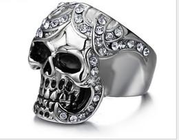 Wholesale Men s titanium steel CZ diamond ring mix size fashion Hallowmas skull punk ring RC mix size