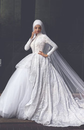 Muslim Wedding Dresses Long Sleeve Lace Modest Bridal Gowns A Line High Neck Zip Back Sweep Train White Wedding Gowns