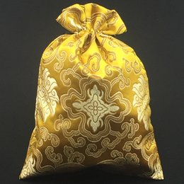 Silk Brocade Thank you Gift Bags Enlarge Chinese style Drawstring Dried flower Pouches Wedding Festive Party 10pcs lot mix color