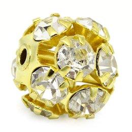 Wholesale 2015 New Ornate Filigree Balls Beads Rhinestone Gold Plated mmx8mm quot x3 quot