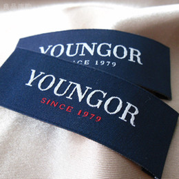 Garment accessories loop fold center fold clothing labels, woven labels sew in fabric custom shirt labels
