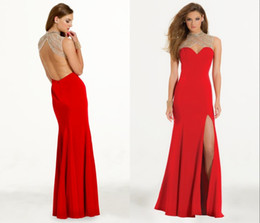 2017 robe avant serrure Sparkly rouge Robe de bal Robes de bal Train Unique Keyhole Neck Robe de Soirée Backless Sexy Side Split robe de bal Robes Robes Occasion spéciale robe avant serrure autorisation