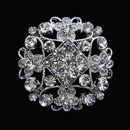 1.2 Inch Silver Tone Clear Rhinestone Crystal Flower Small Size Wedding Bouquet Brooches and Pins Gift