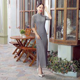 Shanghai Story High-grade Lace Cheongsam Long Cheongsam Qipao Dress Etiquette Qipao Chinese Traditional Grey
