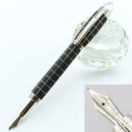Wholesale Best Gift Stationery School Pen Office Supplies Black Chessboard Silver Mesh Fountain Pen Hot Sell
