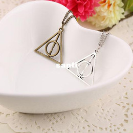 Wholesale Harry Potter Deathly Hallows Necklace Triangle Gift Antique Silver Gold Movie Jewelry