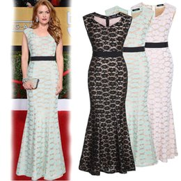 Wholesale 2015 New Lace Mermaid Runway Dresses V neck Zipper Back Ribbon Mermaid Floor Length Evening Party Dresses for Women