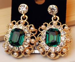 Wholesale-Fashion New Geometric Square Earrings Flower Earrings Pearl Earrings For Women