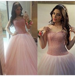 2016 Pearls Evening Dresses Tulle A-Line Sweetheart Lace-up Back Floor Length Pink Long Gowns For Women dress