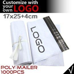 Impression poly à vendre-Gros-17 * 29CM- Personnaliser Impression du logo Enveloppes d'expédition, mailing postal Sacs en plastique blanc enveloppe, couleur en option, livraison gratuite express