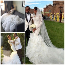 Luxury African 2016 Full Lace Wedding Dresses Sequins Long Sleeve Mermaid Wedding Bridal Gowns Cascading Ruffles Plus Size Sweep Train