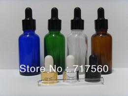 Wholesale 30ML OZ Amber Blue Green Glass Eye Dropper Bottles Vials Enssential Oil Bottles Sensitive Chemical Storaging NEW EMPTY