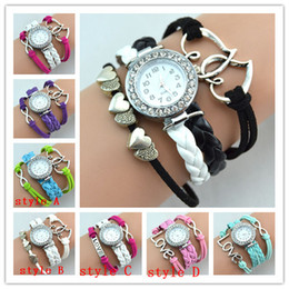 Infinity Watches Weave Bracelet Lady Wrap Band Love Heart To Heart Wrist Watches Women Quartz Movement Mix Style Free Shipping