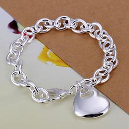 Wholesale Lady girl vogue Jewlery sterling silver plating Charm pendant The heart center bracelets Shrimp buckle bracelet H273