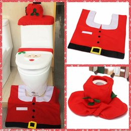 Wholesale Cheap One Christmas Santa Claus Toilet Tank Lid Cover Mats Toilet Seat Cover Rug Bathroom Set Holiday New Year Supplies Baubles Decoration