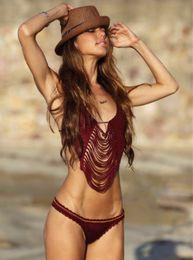 Summer Swimwear Hot Crochet Fringe Bikinis Women 2016 Fashion Swimsuit Sexy Bikini Beachwear Bathing Suit Ladies Knitted Tassel