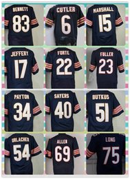 Wholesale New Product Chicago Men s American Football CUTLER MARSHALL JEFFERY BUTKUS FULLER PAYTON ALLEN LONG HOUSTON Blue Elite Jerseys