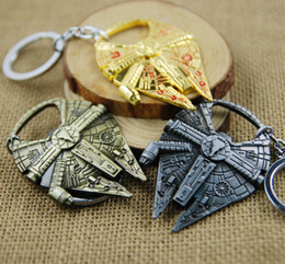 Wholesale Color Metal Spikes - 4 color Star Wars Millennium Falcon Ship Model Metal Keychain Movie Toy Pendant Key Chain Sci-fi Accessories Keyring Starwars