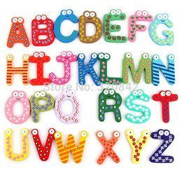 Wholesale Kids Educational Toy Wooden Letters stickers Alphabet Fridge Magnet Learning Magnets the fridge ABC sticker for children
