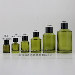15ml olive green Glass bottle With black aluminum screw cap and reducer.for Essential Oil liquid cream lotion,glass Container