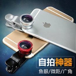 Wholesale 2015 HOT SALE Universal In Clip on Fish Eye Macro Wide Angle cell Phone Lens Camera kit apply for Apple iPhone And Android cell phone