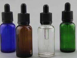 ecig vape juice 30ml Glass Round Dropper Bottle Child Proof Resistant Caps Slim Dropper bottle Black and White Tops With Assembling