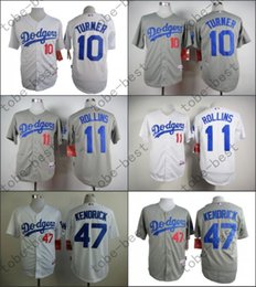 Wholesale 2015 Los Angeles Dodgers Justin Turner Jimmy Rollins Howie Kendrick White Grey Stitched Baseball Jersey Embroidery Logo