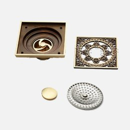 European-style Garden Carved imitation bronze Floor Drain odor pest control anti-overflow whole copper square Floor Drain