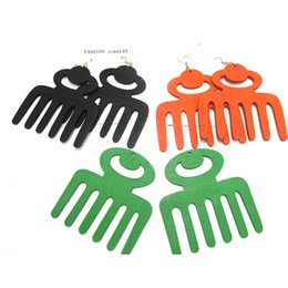 Wholesale cm Afro Pick Comb wooden earrings