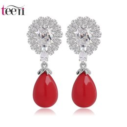 Wholesale Teemi Jewelry Supplier Luxury Classic Antique Sea Shell Pearl Drop Earrings AAA Zircon Flower Unfolded A Peacock Tail for Women