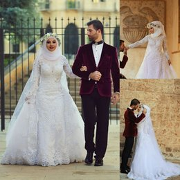 Fashion Bridal 2015 Wedding Dresses Arabic Muslim Wedding Gowns With Detachable Train Lace Appliqued Long Sleeves Hijab Wedding Dresses