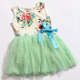 Wholesale Retails Baby dresses for girls infant cotton clothing sleeveless tutu dress with ribbons beautiful summer clothes flower printed lace