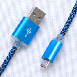 1M Micro USB Fiber Braided Data Charger USB Charging Cord For Andriod Smart phone Xiao mi