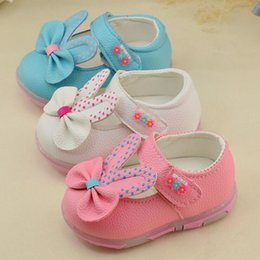 Wholesale Kids shoes Spring PU leather Baby shoes non slip soft bottom toddler shoes Female baby shoes lights CM Z L182