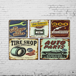 Wholesale TIN SIGN quot Auto Parts Tire Shop hrs Gas Oil quot Metal Painting Workshop Wall Decor Garage