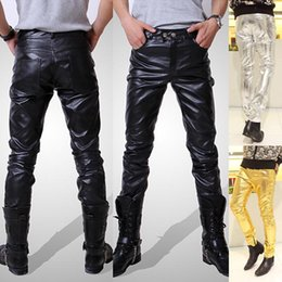 Wholesale-Mens Black Leather Pants Faux Leather Pu Material Black Color Motorcycle Skinny Faux Leather Pants For Men