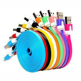 50pcs Lot Colorful 1M Noodle Flat Micro USB Cable Charging Cables Charger Line for Samsung S6 s5 s4 note 3 note 4 android charging cables
