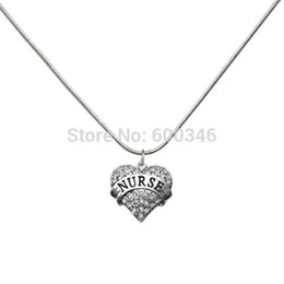 Hot Sale Heart Nurse Crystal Pendant Necklaces Medical Jewelry