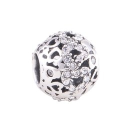 Wholesale Crystal loose beads Big Hole Beads Stone beads Floral Flower sterling silver charms fit European Bracelets No90 X079