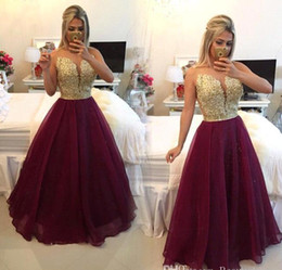 2019 New Design Sheer Evening Gowns Wear Golden Burgundy Ruffles Sweetheart A Line Organza Floor length Prom Party Dresses
