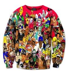 Wholesale Real USA Size Hip Hop Classic All Legends D Print OEM Sweatshirt Crewneck Plus Size fleece streetwear
