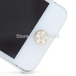 Wholesale-Lovely home button sticker for iphone 4 4s 5 5s iPad 6 plus sticker pearl rhinestone phone decoration accessory phone sticker