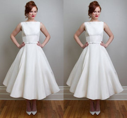 2016 Spring Graden White Wedding Dresses Empire with Cute A Line Bateau Ankle Length Vintage Design Bridal Gowns fro wedding party
