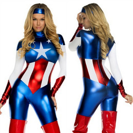 Wholesale women s American captain America Avengers costume lady US hero captain tights dress cosplay sassy deluxe Halloween party cosplay zentai suit