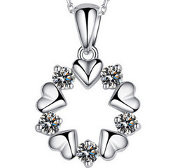 30% 925 sterling silver Top Grade Diamond Cubic Zircon Heart to Heart Round Pendant necklace For Wedding Dress Sets Party