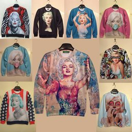 Wholesale-DH567# 2015 New Women Men Hoodies Top 3D Space Print Pullovers Galaxy Sweatshirts star Marilyn Monroe rose Monroe Sweatshirts