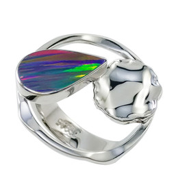 Impressive water drop gemstone sterling silver finger ring with colorful opal jewelry for ladies for R6507
