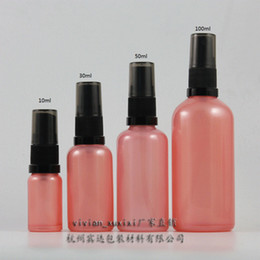 30ml pink Glass travel refillable perfume bottle with black plastic atomiser sprayer,perfume container,perfume packing