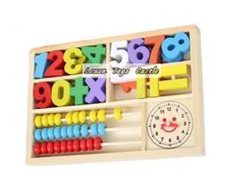 Cajas de madera relojes en Línea--Al por mayor libre del envío de múltiples funciones del juguete digital Matemática Abacus cuadro de aprendizaje, juguete del bloque de madera, el despertador ábaco, educativa