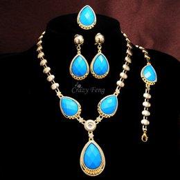Bague en or aquamarine à vendre-Livraison gratuite Femmes / Fille 18k Or jaune rempli Bleu Aquamarine collier Bracelet Boucles d'oreilles Bijoux Anneau Cadeau Cadeaux